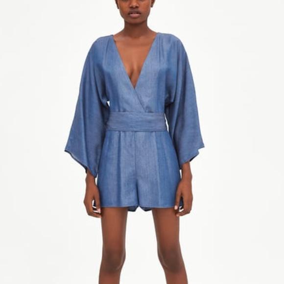 351c88b1 Zara Pants | Trf Collection Jumpsuit With Kimono Sleeves | Poshmark